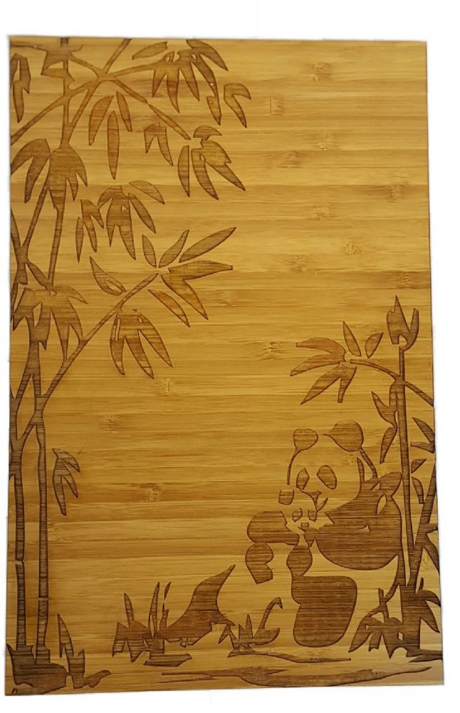 Bamboo Wood Wall Decor : Pandas in bamboo forest engraved wood wall decor
